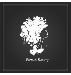 Female portrait white silhouette on black for vector