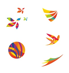 Set of colourful travel icons vector