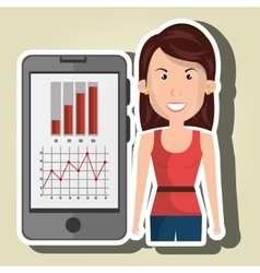 Woman smartphone and statistics isolated icon vector