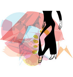 Abstract of Latino Dancing woman legs vector image