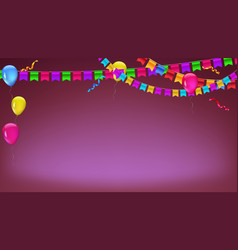 Banner with garland of colour flags inflatable vector