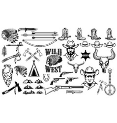 Big set of wild west iconscowboys indians vintage vector