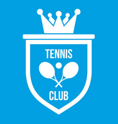 Coat of arms of tennis club icon white vector