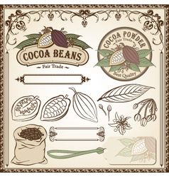Cocoa fair trade set vector