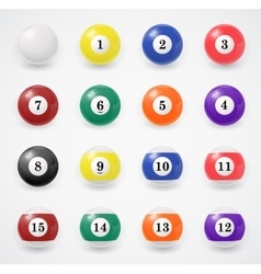 Complete set of billiard balls on a white vector