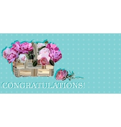 congratulation with roses in a basket vector image vector image