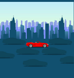 Cool cartoon-style red car on dark city background vector
