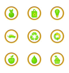 Different green icons set cartoon style vector