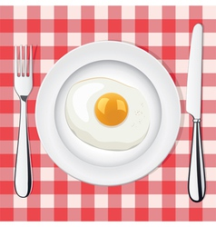 Egg on a plate vector