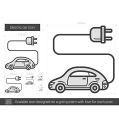 Electric car line icon vector