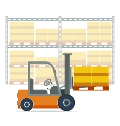 Forklift working in a warehouse vector