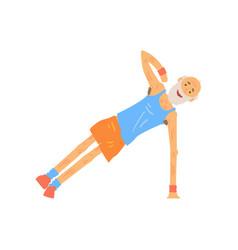 Funny senior character doing side plank elderly vector
