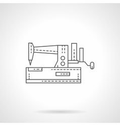 Manual sewing machine flat thin line icon vector image vector image