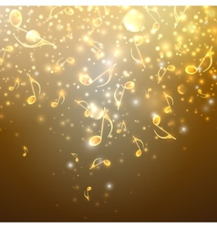 Musical background with flowing golden music notes vector