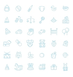 Outline web icon set baby toys feeding and care vector