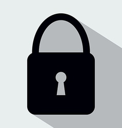 Padlock Flat Icon with Long Shagow vector image