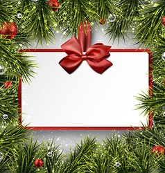 Paper gift card on frame with spruce branches vector image