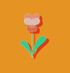 Paper sticker on stylish background plant viola vector