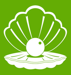 pearl in a sea shell icon green vector image