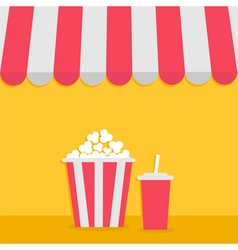 Popcorn and soda with straw cinema icon striped vector