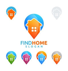 Real estate logo home house logo pin home logo vector