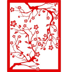 red plum blossom-paper cut vector image vector image