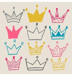 Set of cute cartoon crowns vector image