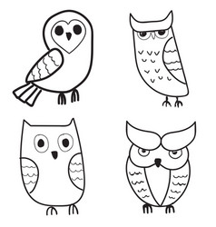 Set of cute hand drawn owls vector