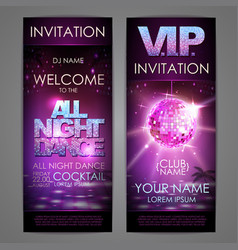 set of disco background banners all night dance vector image vector image