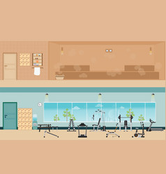 Set of fitness gym interior with equipment and vector