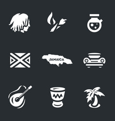 set of jamaica icons vector image vector image