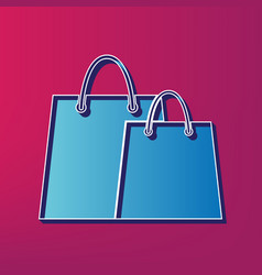 Shopping bags sign blue 3d printed icon vector