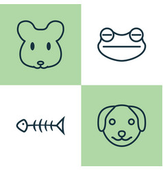 Zoo icons set collection of seafood skeleton rat vector