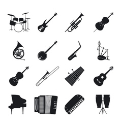 Jazz musical instrument silhouettes vector