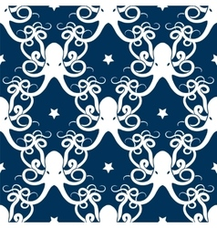 Ocean seamless pattern with octopus vector image