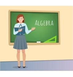 Teen pupil standing at the blackboard vector