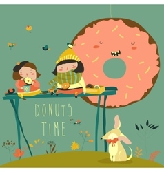 Cute girls enjoying tea time with donuts vector
