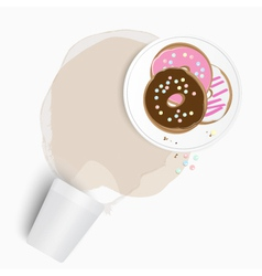 Fresh donuts with spilled tea or coffee vector image