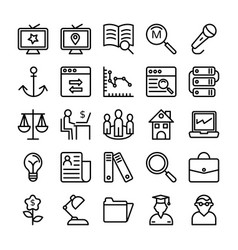 business and office line icons 15 vector image