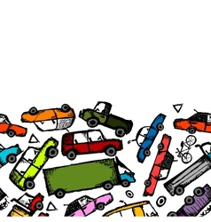 Toy cars collection seamless pattern for your vector