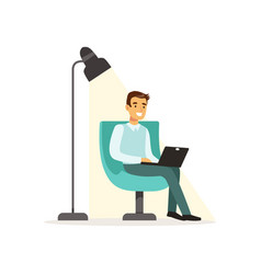 Smiling man sitting on an armchair and working vector