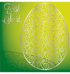 Filigree egg happy easter card in format vector