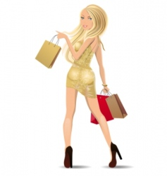 woman carrying bags vector image
