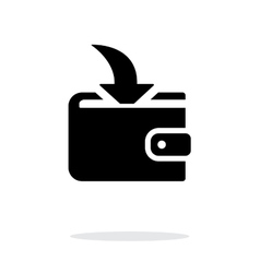 Incoming payment in wallet icon on white vector