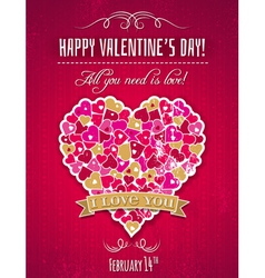 Red valentines day greeting card with heart vector image