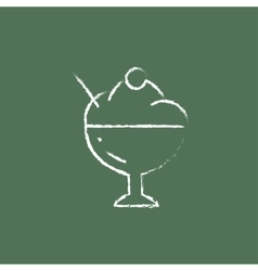 Cup of an ice cream icon drawn in chalk vector