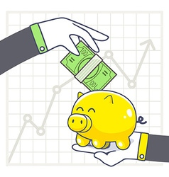 Hands with yellow piggy bank and green mo vector