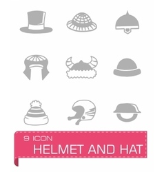 Helmet and hat icon set vector