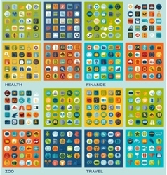 Set of flat icons health finance zoo travel vector