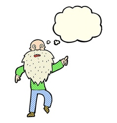 Cartoon stressed old man with thought bubble vector